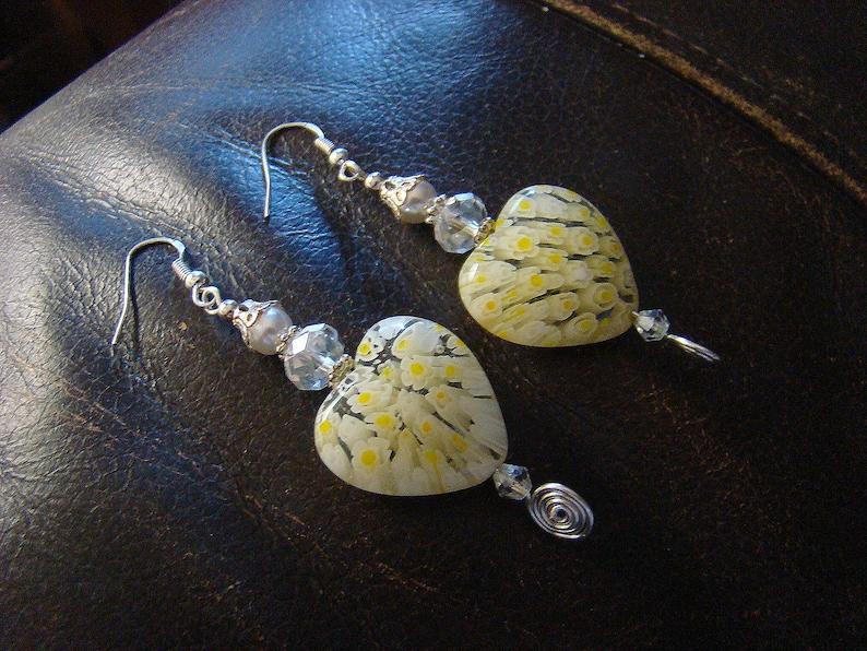 Long Earrings Yellow Heart Earrings Beaded Earrings Dangle Earring Yellow Earrings Pierced Earring Drop Earrings Handmade Earrings