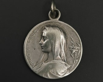 Vintage Virgin Mary Medal, French Religious Medal, Lourdes