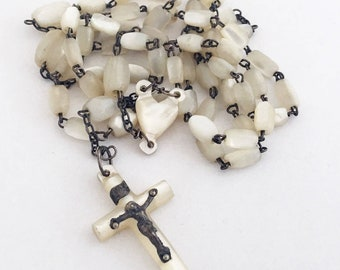 Vintage French Mother-of-Pearl Rosary Catholic Beads Prayer Beads with Crucifix