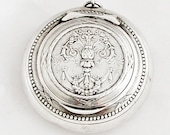 French Powder Compact Pendant Pill Box Medallion Locket