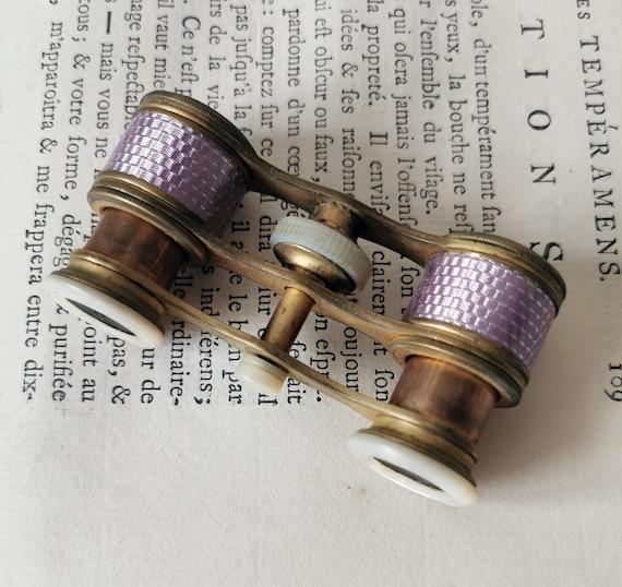 Vintage French Petit Opera Glasses / Purple Enamel