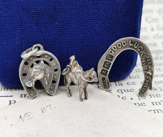 Silver Horse Shoe Charms, Horse Hoof Charms, Briti