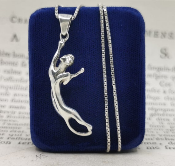 Vintage French Cat Pendant Necklace, Cartier Style