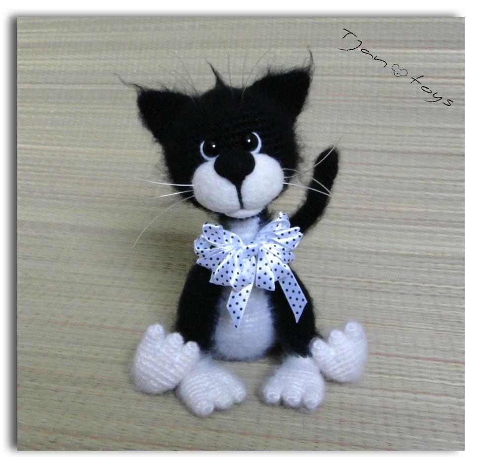 Cat Black White Ooak Stuffed Animals Crochet Handmade Soft Toy Etsy