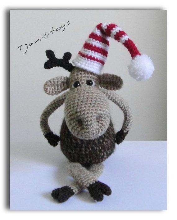 Weihnachten Elch Ooak Gefüllte Tiere Häkeln Handmade Weichen Etsy
