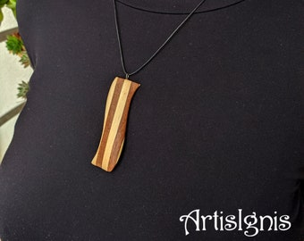 Wavy Mahogany and Pine Wood Pendant - One of a kind, Handmade, Gift for her, Birthday gift, Unique, Wood Jewelry, Ooak