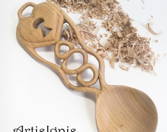 """Love Spoon """"Key to my Heart"""" LoveSpoon-Handcarved following the Welsh tradition, Ash Wood sculpture, Wooden spoon, Decorative, Wedding gift"""