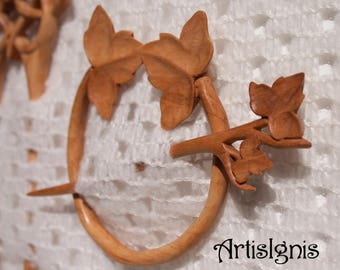 "Shawl Pin or Hair Slide ""Ivy"", Handmade Alder Wood Shawl Pin, Handcarved Ivy Hair Accessories, Eco-friendly - MADE TO ORDER"