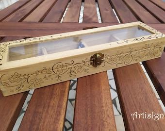 Tea Box, Tea caddy, Trinket box, Pyrographed by hand, Wood Burned box, Keepsake box, Wood burned Tea Box, Gift box, Ivy leaf Celtic design