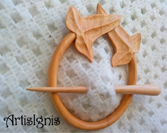 Elfic Leaves Shawl Pin or Hair Slide, Handmade Alder Wood Shawl Pin, Handcarved Leaves Hair Accessories, Nature inspired