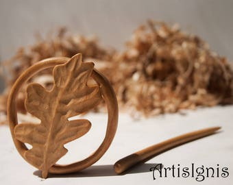 Shawl Pin Oak Leaf handcarved in Alder wood, Inspired in Nature, Handmade Hair slide, Gift for her, Eco-friendly - MADE TO ORDER