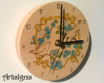 Spring Birds on Blue Blossoms Wall Clock, Handmade Round Wood Clock, Wood burned by hand colored by hand and with silent clock movement