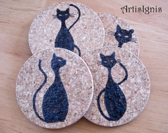 "Cork Coasters ""Cat Silhouettes"", Set of Four (4), Pyrographed by hand, Hostess gift, Cat lovers, Housewarming gift, Housewares-MADE TO ORDER"
