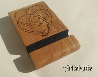 Wood Phone Stand, Wooden Phone Holder, Tablet Stand, Alder Wood Handmade Wood Smartphone Stand, Wood burned Motherhood Celtic Knot