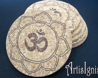 "Cork Coasters ""Om in Lotus Flower"", Set of six (6), Pyrographed by hand, Hostess gift, Housewarming gift, Housewares, Barware- MADE TO ORDER"