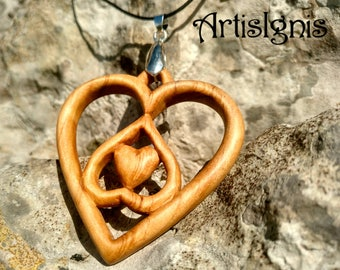Wooden Pendant Celtic Hearts Knot - Alder Wood, Handcarved, Gift for her, Birthday gift,wood Jewelry - MADE TO ORDER