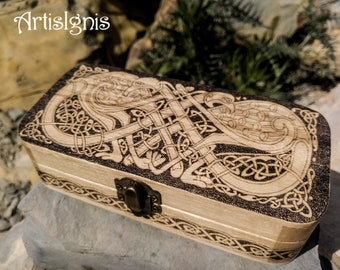 "Wood Pencil Case ""Celtic Birds"", Pencil holder, Trinket box, Pyrographed by hand, Wood Burned box, Wooden box, Gift"