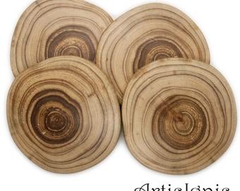 Wood Slice Coasters Set of 4, Acacia wood natural wood coasters, Handmade drink coasters, Rustic Decor Coasters, Foodie gift, Housewarming