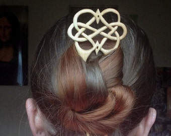 """Wood Hair Fork """"Infinite Love"""", Celtic Knot Work, Handcarved Hair Pin, Two Pronged Handmade Hair Stick - MADE TO ORDER"""