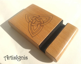 Wood Phone Stand, Wooden Phone Holder, Tablet Stand, Alder Wood Handmade Wood Smartphone Stand, Wood burned Triquetra Celtic Knot