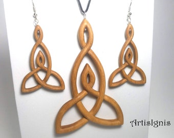 Pendant and Earrings Set Mother's Embrace  - Celtic Mother and Child Knot- Alder Wood, Hand carved, Mother Daughter/Son Gift - MADE TO ORDER