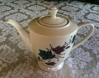 Vintage teapot -teal and mauve ivy
