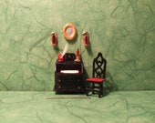 1 48th scale, Bureau and CONTENTS, Desk, Quarter Scale, Chair, 1 4 quot Scale, Wall Sconces, 48th, Furniture, Den, Gothic, Mirror, Study, 1 48