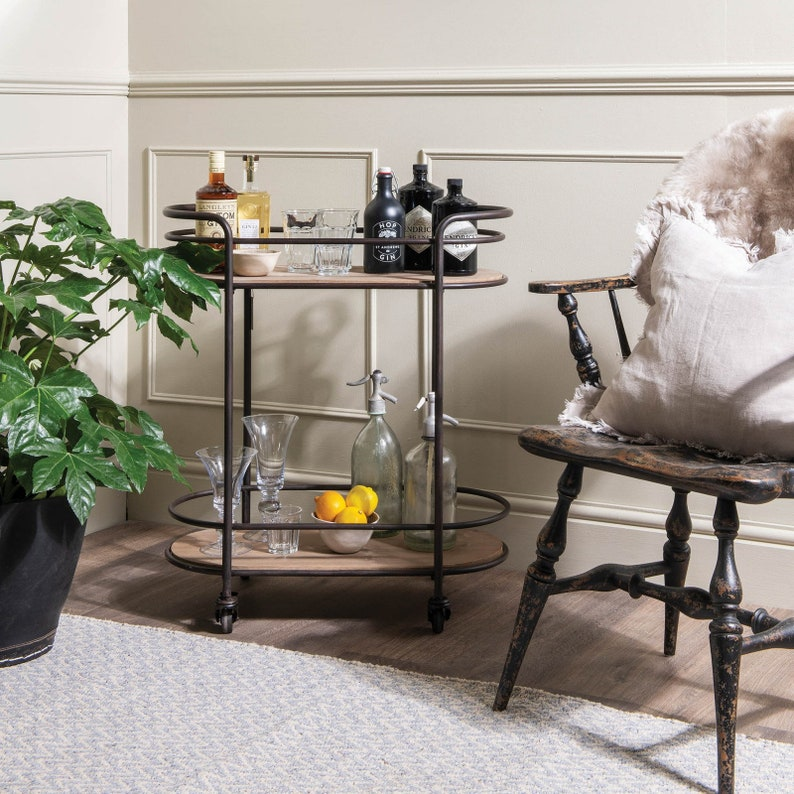 Oval Drinks Trolley on wheels great and stylish storage image 0