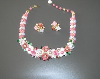 CZECH Glass Flower/Leaves Choker with Matching Earrings