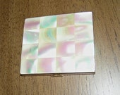 Vintage c1950s Genuine Mother-of-Pearl Checkerboard Lid Powder Compact