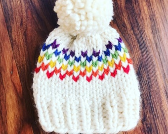 b7c39dd8339 Knitted Pom Pom Hat - Knitted Baby Beanie - Rainbow Pom Pom - Rainbow Beanie  - Baby Hat - Handmade Baby Hat