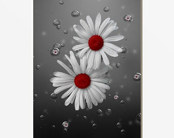 Red Daisy Flowers Decorative Bath Home Decor Picture Red Gray Bathroom Wall Art