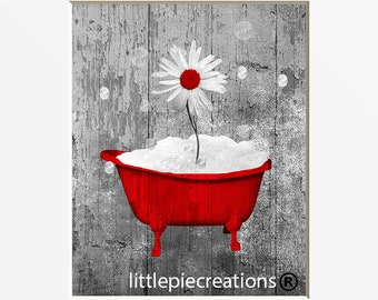 Nice Red Gray Rustic Farmhouse Bathroom Wall Art Pictures, Daisy Flower Bubbles Red  Home Decor Matted Artwork