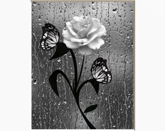 black white wall art pictures bathroom gray decor rose flower butterflies decor powder room gray wall art matted picture