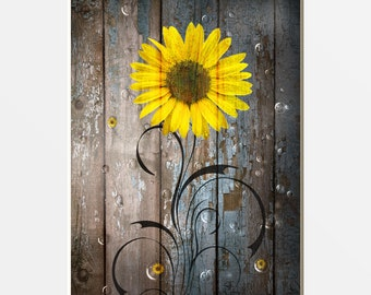 Rustic Sunflowers Farmhouse Home Decor Wall Art, Country, Farmhouse Rustic  Bath Sunflower Wall Art Matted Picture