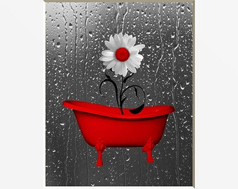 Exceptional Red Gray Wall Pictures, Red Bathroom Powder Decor, Daisy Flowers,  Raindrops, Red Home Decor Wall Art Matted Picture
