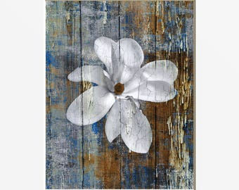 Farmhouse Rustic Decor Flower Brown Blue Living Room Bedroom Bathroom Country Wall Pictures