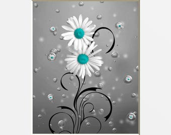 Teal Gray Bathroom Decor, Teal Daisy Flowers, Bubbles, Teal Powder Room,  Teal Gray Home Decor Matted Picture