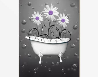 Elegant Purple Gray Bathroom Wall Picture, Modern Purple Wall Art, Purple Daisy  Flowers Home Decor Matted Picture