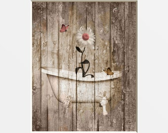 Coral Brown Farmhouse Wall Art, Daisy Flowers, Butterflies Decor, Country  Rustic Bathroom Wall Art Matted Picture