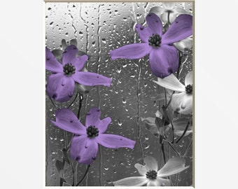 Purple Gray Bathroom Decor, Purple Flowers, Raindrops, Purple Home Decor  Wall Art Matted Picture