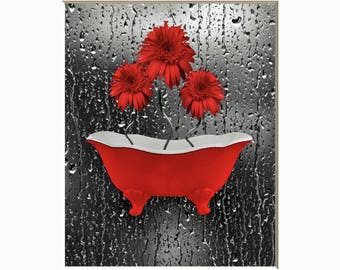 Red Daisy Flowers Raindrops Red Gray Wall Art Red Bathroom Home Decor Matted Picture  sc 1 st  Etsy : black and red wall art - www.pureclipart.com