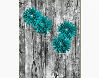 Good Teal Wall Art, Teal Flowers, Rustic Teal Gray Wall Art, Rustic Teal Home  Decor Picture