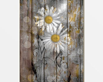 Garden Vase Wall hanging plaque/picture Shabby Chic Collage Daisy Flowers