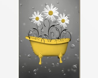 Yellow Gray Bathroom Wall Art Yellow Daisy Flowers Bubbles Home Decor Matted Picture & Yellow bathroom art | Etsy