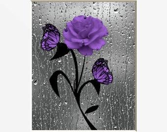 Purple Wall Art Rose Flower Butterflies Bathroom Powder Room Matted Picture