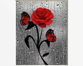 Merveilleux Red Bathroom Decor, Red Rose Butterflies, Red Gray Modern Home Decor Matted  Picture