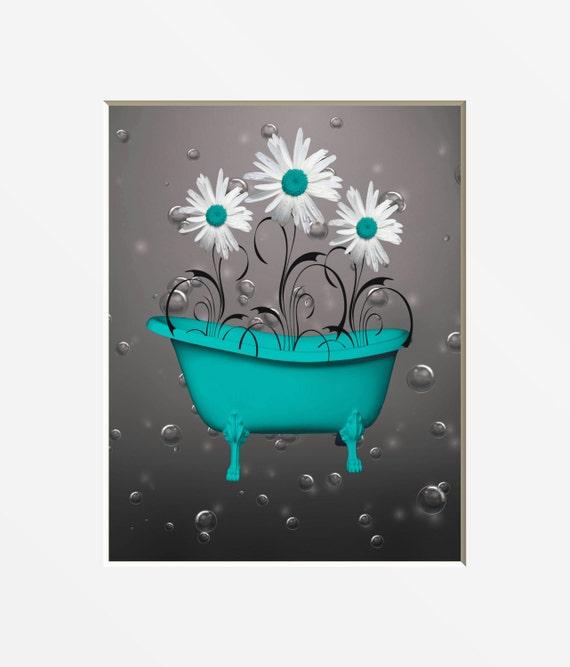 Teal Gray Bathroom Decor Teal Daisy Flower Bubbles Etsy