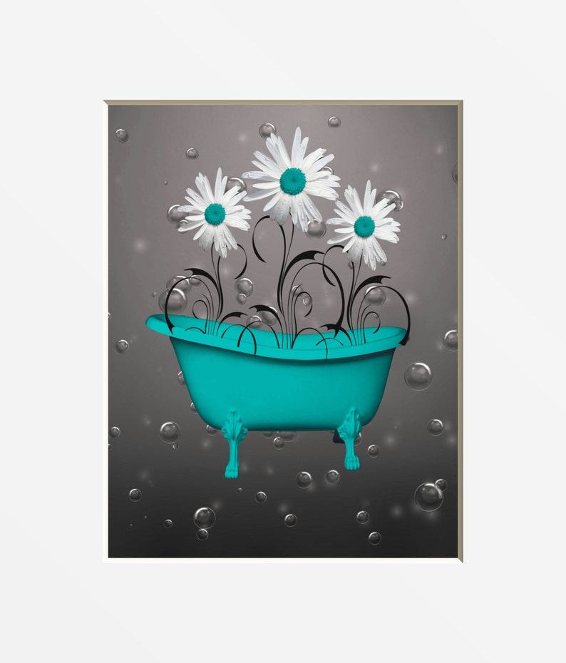 Amazing Teal Gray Bathroom Decor Teal Daisy Flower Bubbles Decorative Teal Bath Powder Room Wall Art Picture Home Interior And Landscaping Dextoversignezvosmurscom