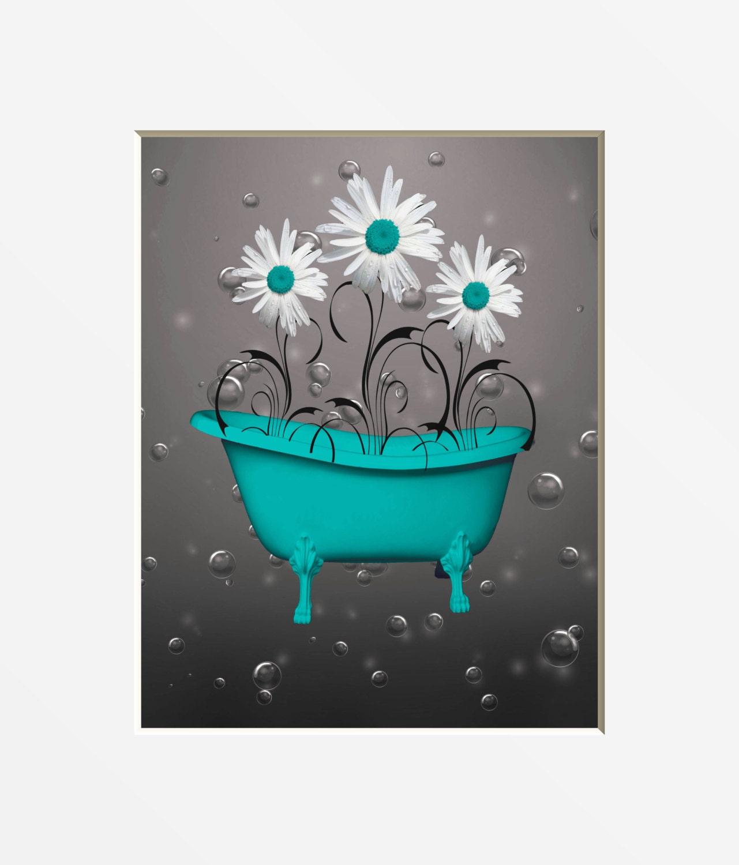 Teal Gray Bathroom Decor Teal Daisy Flower Bubbles
